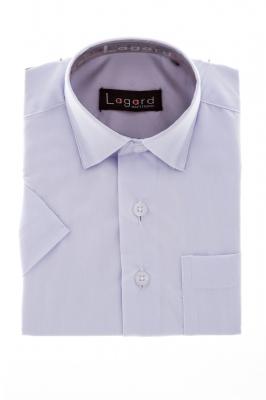 Детская однотонная белая рубашка с коротким рукавом  (Арт. B SKY 1030K)