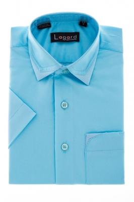 Детская однотонная голубая рубашка с декоративным воротником (Арт. B SKY 1155K)