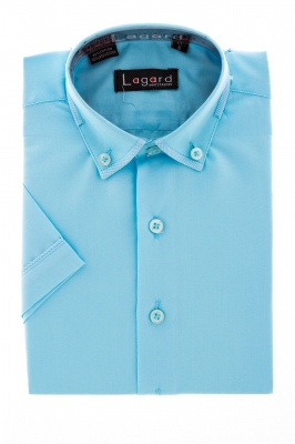 Детская однотонная голубая рубашка с окантовкой по краю воротника (Арт. B SKY 1162K)