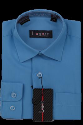 Детская однотонная голубая рубашка с длинным рукавом (Арт. B SKY 0987)