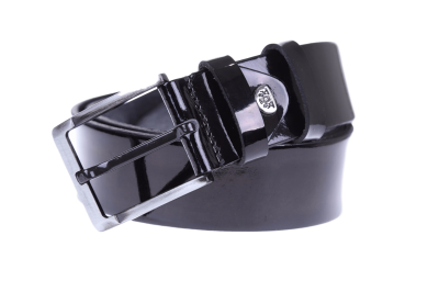 Мужской кожаный черный ремень (Арт. REM-06)