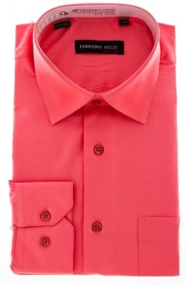 Рубашка мужская классика однотонная цвет карал с длинным рукавом  (Арт.  SKY 0997)
