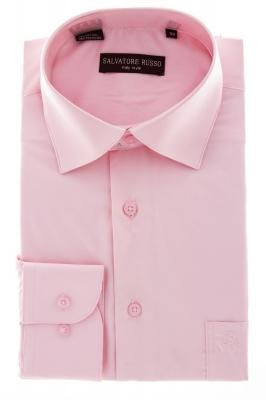 Рубашка мужская классика однотонная цвет розовый с длинным рукавом  (Арт.  SKY 5148)