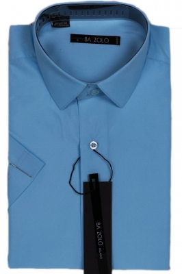 Молодежная однотонная голубая рубашка (Арт. SKY 1048K)