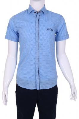 Детская рубашка в мелкий узор с декоративной планкой (Арт. TB 1347K)