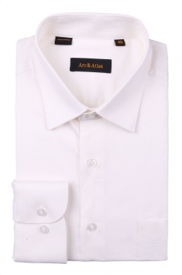 Рубашка мужская классика однотонная цвет айвори с длинным рукавом  (Арт.  SKY OD-001)