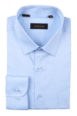 Классическая однотонная  рубашка  с длинным рукавом  (Арт. OD-003)