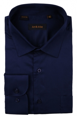 Классическая однотонная  рубашка  с длинным рукавом  (Арт. OD-021)