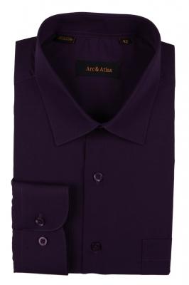 Классическая однотонная  рубашка  с длинным рукавом  (Арт. OD-014)
