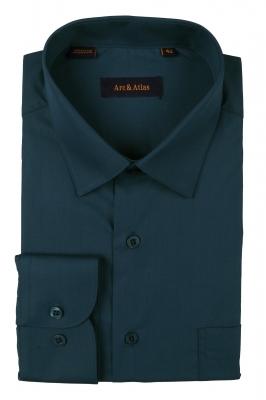 Классическая однотонная  рубашка  с длинным рукавом  (Арт. OD-015)