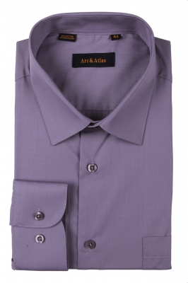 Классическая однотонная  рубашка  с длинным рукавом  (Арт. OD-012)