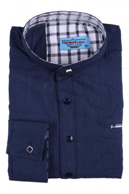 Синяя комбинированная детская рубашка, длинный рукав (Арт. TB 2621)