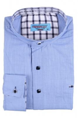 Комбинированная детская рубашка голубого цвета, длинный рукав (Арт. TB 2623)