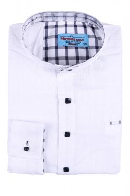 Комбинированная детская рубашка белого цвета, длинный рукав (Арт. TB 2624)