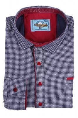 Комбинированная детская рубашка в мелкий узор темно-синего цвета , длинный рукав (Арт. TB 2625)