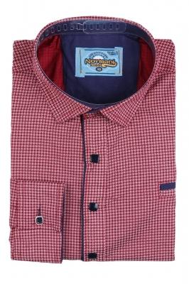 Комбинированная детская рубашка в мелкий узор красного цвета , длинный рукав (Арт. TB 2627)