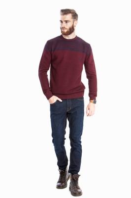 Стильный бордовый свитер в полоску (Арт. POS 2698)