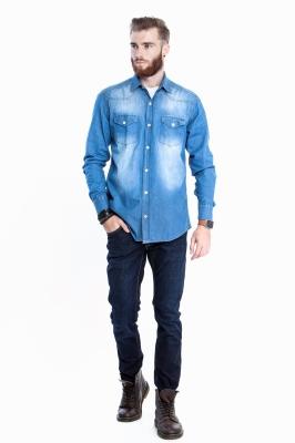 Джинсовая рубашка с длинным рукавом (Арт. Т 2726)