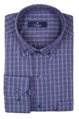 Классическая рубашка в клетку с длинным рукавом  (Арт. T 2747)