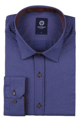 Молодежная рубашка синего цвета в мелкий узор, длинный рукав (Арт. T 2791)