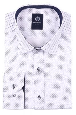 Молодежная белая рубашка в мелкий узор, длинный рукав (Арт. T 2792)