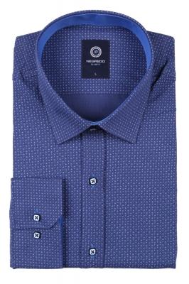 Стильная молодежная мужская рубашка синего цвета  в мелкий узор, длинный рукав (Арт. T 2793)
