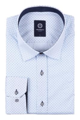 Стильная молодежная рубашка голубого цвета в мелкий узор, длинный рукав (Арт. T 2794)