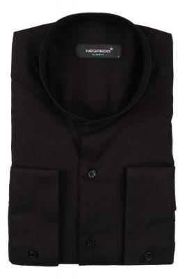 Молодежная однотонная черная рубашка, воротник стойка, длинный рукав (Арт. T 2796)