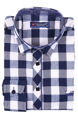 Детская комбинированная рубашка в клетку сине-белого цвета, длинный рукав (Арт. TB 2808)