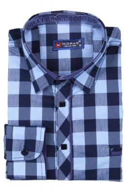Детская комбинированная рубашка в клетку синего цвета, длинный рукав (Арт. TB 2809)