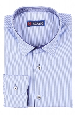 Детская рубашка в полоску голубого цвета, длинный рукав (Арт. TB 2810)