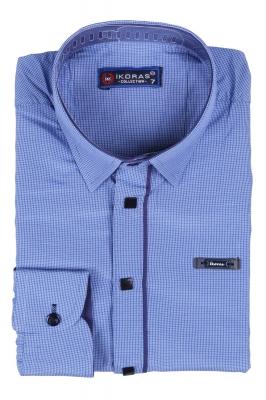 Детская рубашка в мелкую клетку синего цвета, длинный рукав (Арт. TB 2811)