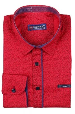 Детская рубашка красного цвета в мелкий узор, длинный рукав (Арт. TB 2813)