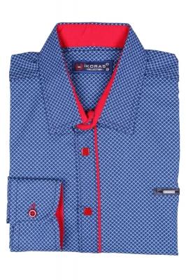 Детская комбинированная рубашка синего цвета в мелкий узор, длинный рукав (Арт. TB 2817)