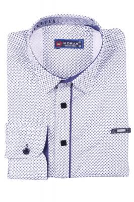 Детская белая рубашка в мелкий узор, длинный рукав (Арт. TB 2818)