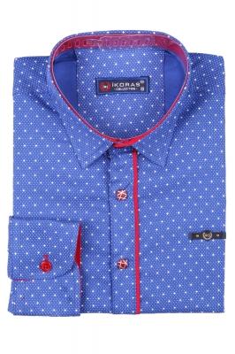 Детская рубашка синего цвета в мелкий узор, длинный рукав (Арт. TB 2824)