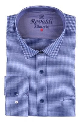 Стильная молодежная рубашка в синюю мелкую клетку (Арт. T 2873)