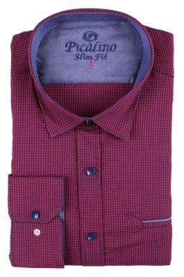 Стильная молодежная рубашка в сине-красную мелкую клетку (Арт. T 2874)