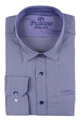Стильная молодежная рубашка в синюю мелкую клетку (Арт. T 2875)