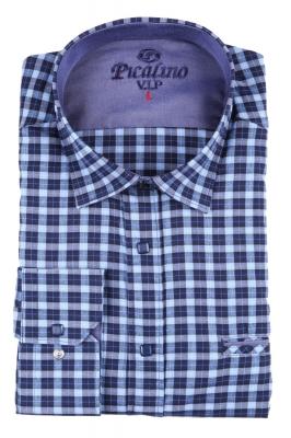 Мужская классическая рубашка в темно-синюю клетку (Арт. T 2876)