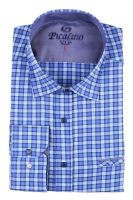 Мужская классическая рубашка в синюю клетку (Арт. T 2877)