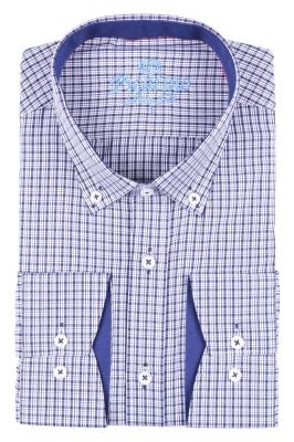 Стильная молодежная рубашка в синюю мелкую клетку (Арт. T 2878)