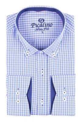 Стильная молодежная рубашка в голубую мелкую клетку (Арт. T 2879)