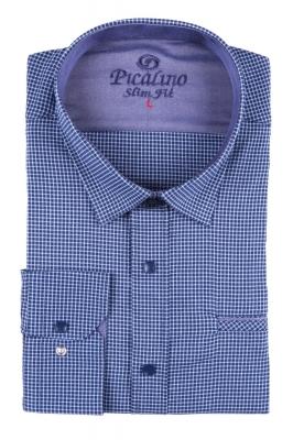 Стильная молодежная рубашка в темно-синюю мелкую клетку (Арт. T 2880)