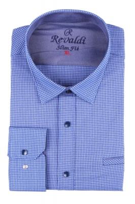 Стильная молодежная рубашка в синюю мелкую клетку (Арт. T 2882)