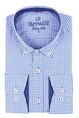 Стильная молодежная рубашка в голубую мелкую клетку (Арт. T 2883)