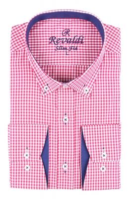 Стильная молодежная рубашка в красную мелкую клетку (Арт. T 2884)