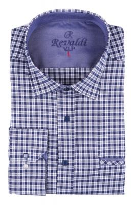 Мужская классическая рубашка в темно-синюю клетку (Арт. T 2886)