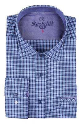 Мужская классическая рубашка в синюю клетку (Арт. T 2888)