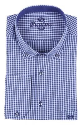 Мужская классическая рубашка в синюю клетку (Арт. T 2889)